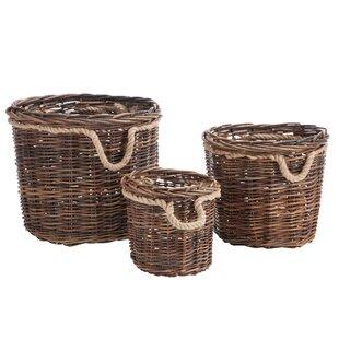 Wicker/Rattan 3 Piece Basket Set By August Grove