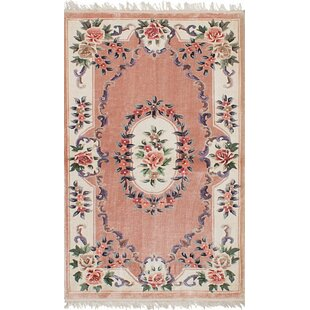 Compare & Buy One-of-a-Kind Tibbett Aubusson Hand-Woven Silk Pink Area Rug By Isabelline