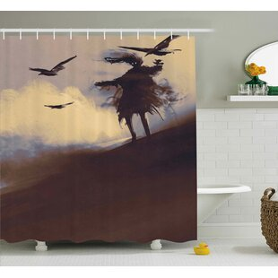 Horror Dark Soul From a Scary Movie Film on The Hills With Clouds and Flying Crows Print Single Shower Curtain