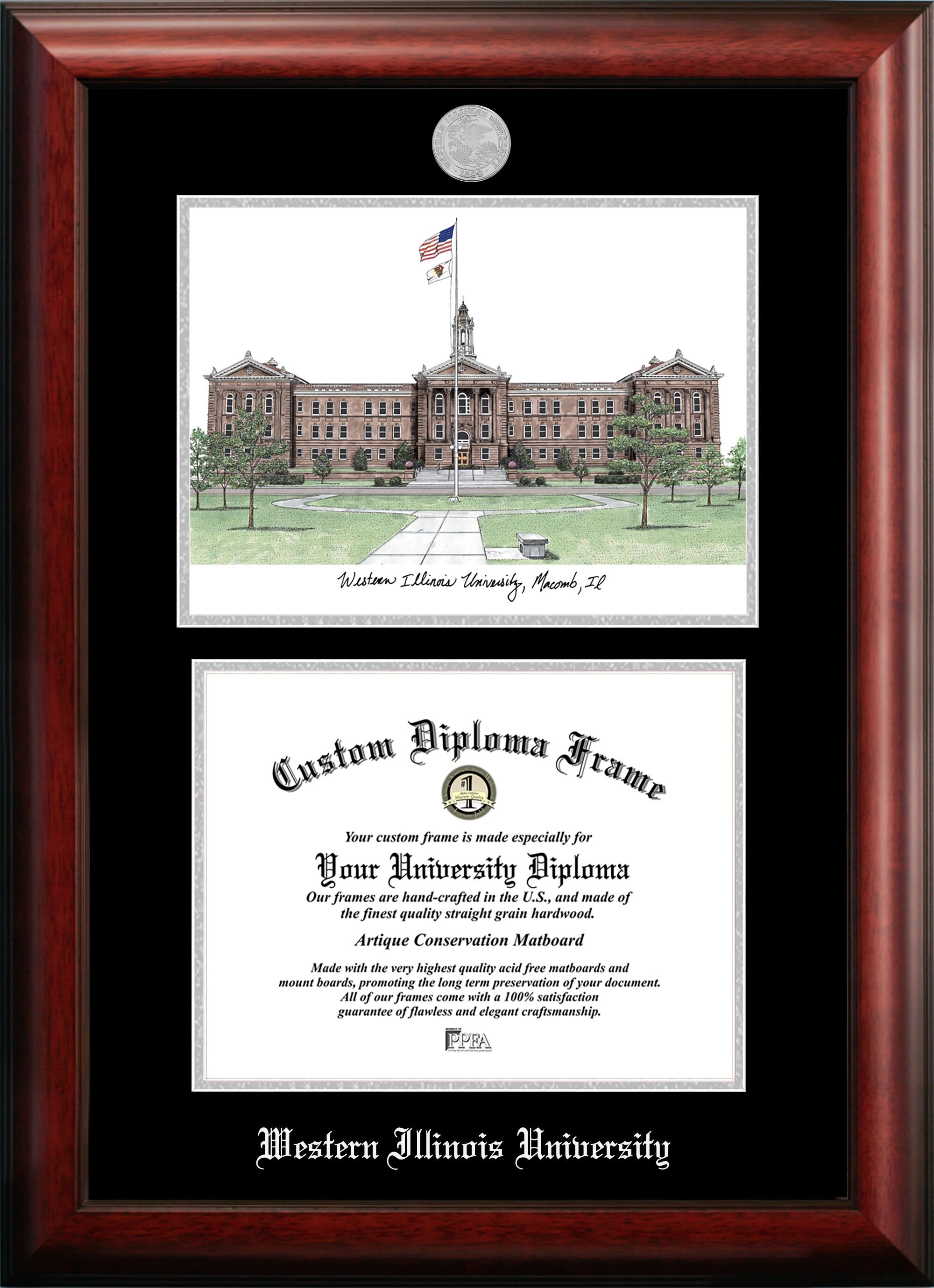 Black Southern Illinois University 4x6 Brushed Metal Picture Frame