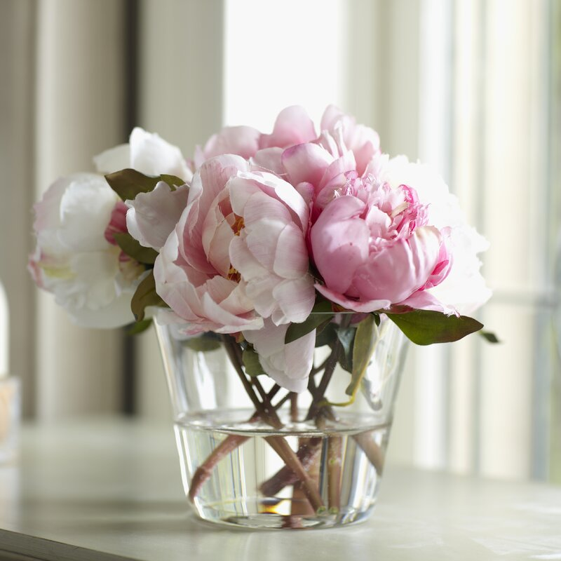 Birch Lane Faux Peony Floral Arrangements In Vase Reviews Birch
