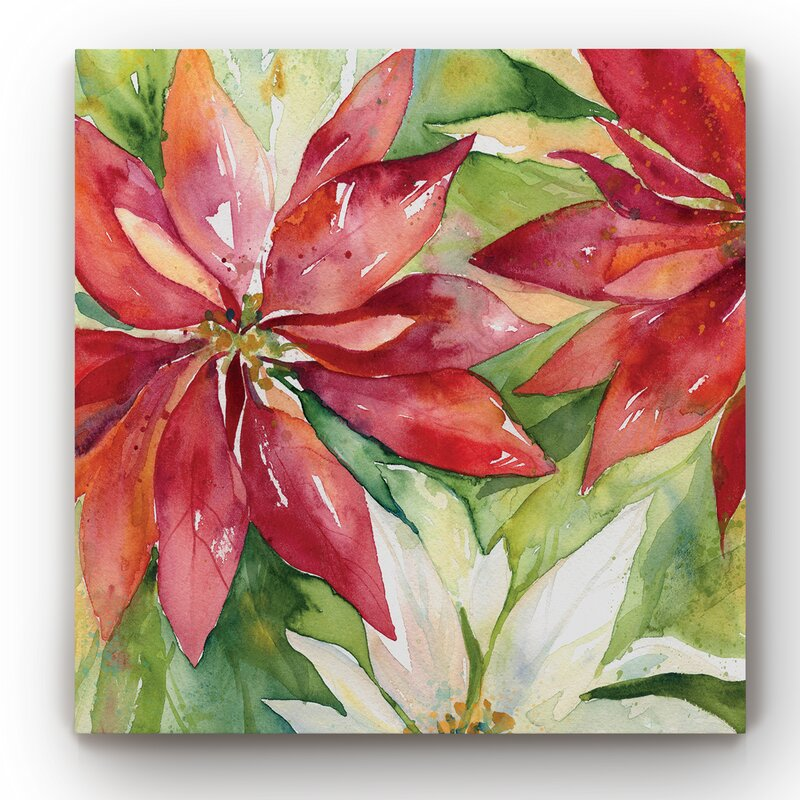 'Watercolor Poinsettia' Wrapped Canvas Painting on Canvas