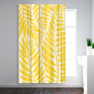 Modern Tropical Leaves Floral Blackout Rod Pocket Single Curtain Panel by East Urban Home
