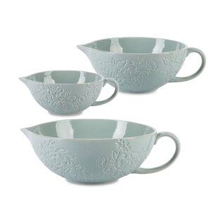 Etched Mist Floral 3 Piece Ceramic Mixing Bowl Set