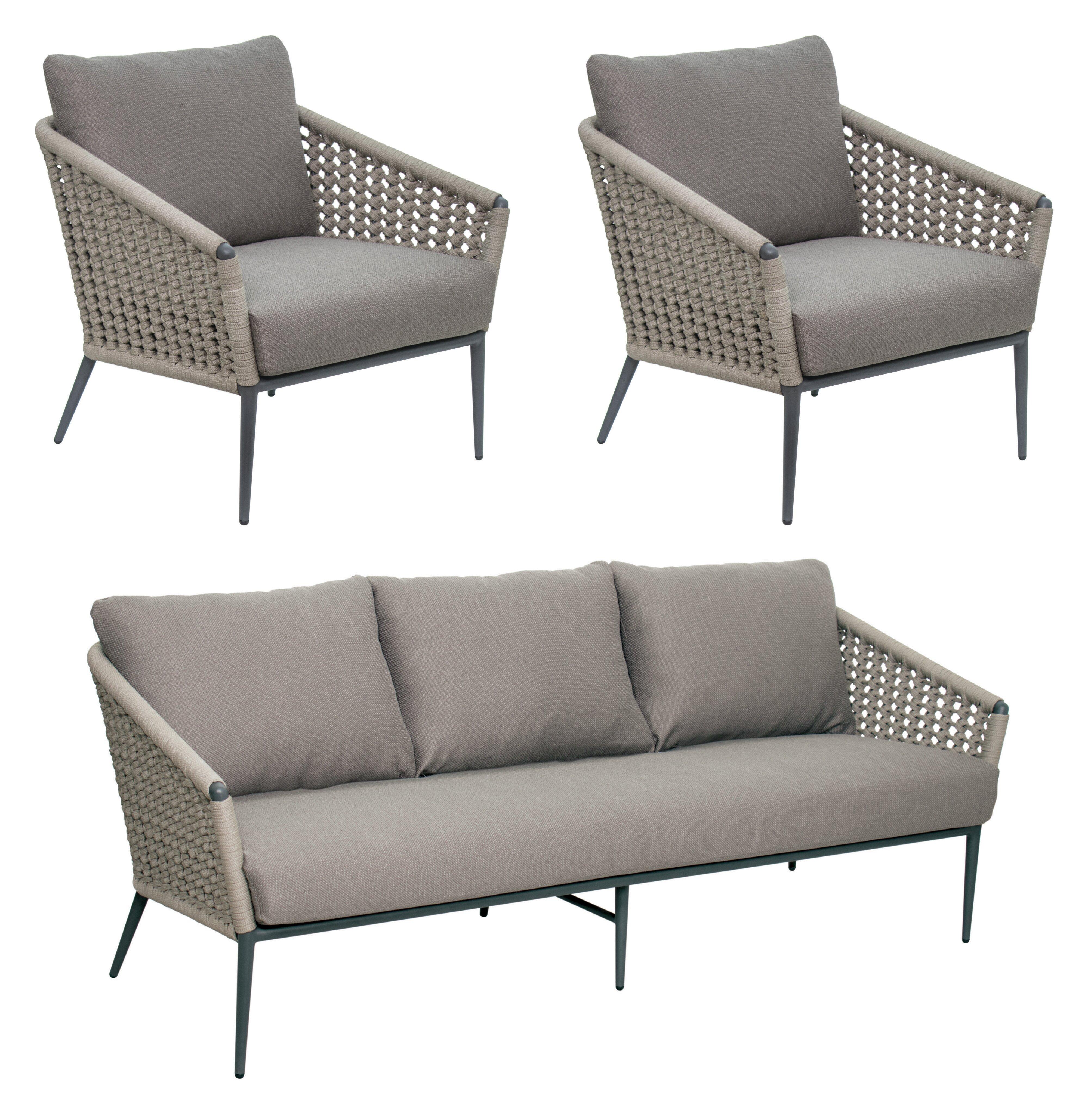 Seasonalliving Archipelago Antilles 3 Piece Rattan Sofa Seating Group With Cushions Perigold