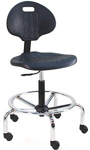 Eco-Friendly Cleanroom Lab Waterfall Drafting Chair with Lumbar Support