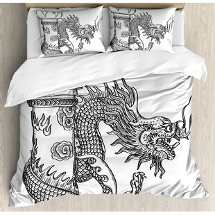 East Urban Home Dragon Chinese Style Sacred Creature Statue Sketch Medieval Monster Fantasy Tattoo Image Duvet Set