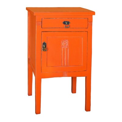 Corrie 1 Drawer Nightstand Color: Orange by August Grove
