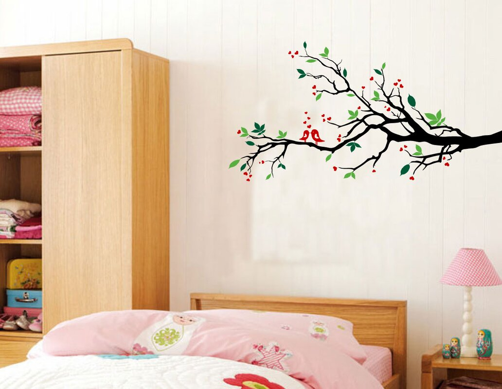 Innovative stencils tree branches with leaves and love birds wall tree branches with leaves and love birds wall decal amipublicfo Choice Image