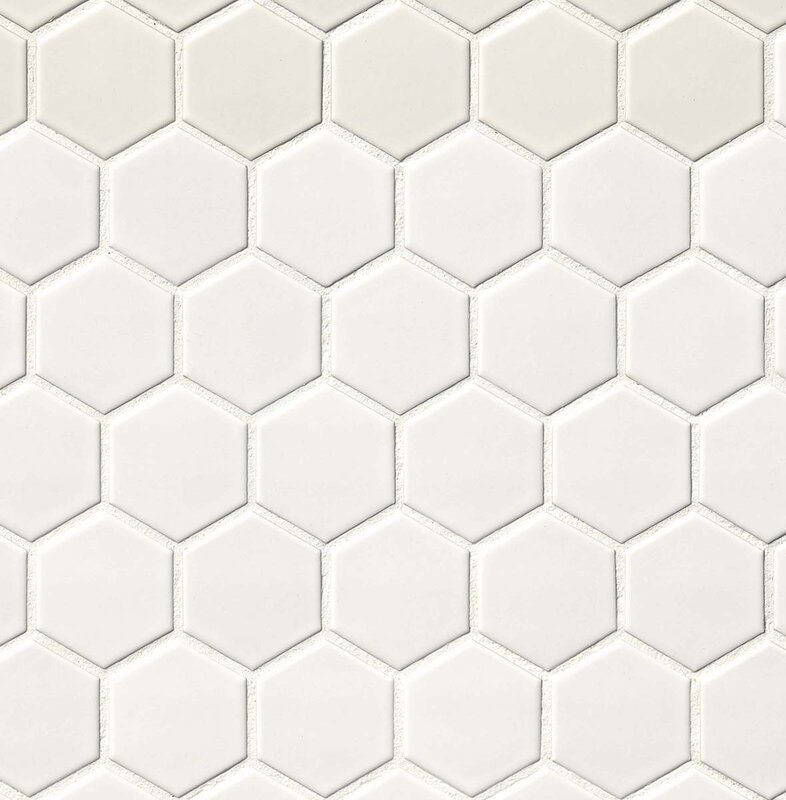 Hexagon 2  x 2  Porcelain Mosaic Tile in Matte White. MSI Hexagon 2  x 2  Porcelain Mosaic Tile in Matte White   Reviews