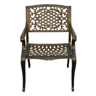 Casavant Ornate Traditional Mesh Lattice Patio Dining Chair