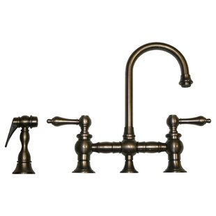 Whitehaus Collection Vintage III Widespread Double HandleKitchen Faucet with Side Spray