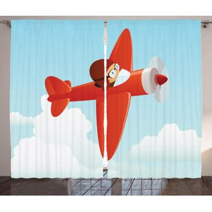 Raquel Airplane Flying In The Cloud Graphic Print U0026 Text Semi Sheer Rod  Pocket Curtain Panels (Set Of 2)