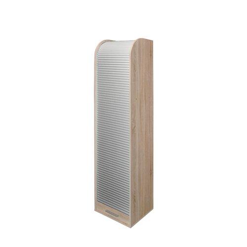 190 cm Aufbewahrungsschrank | Flur & Diele > Mehrzweckschränke | Eiche sägerau / silber | Microfaser - Kunststoff | Hazelwood Home