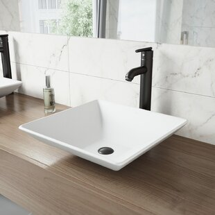 Compare Matte Stone Square Vessel Bathroom Sink with Faucet By VIGO