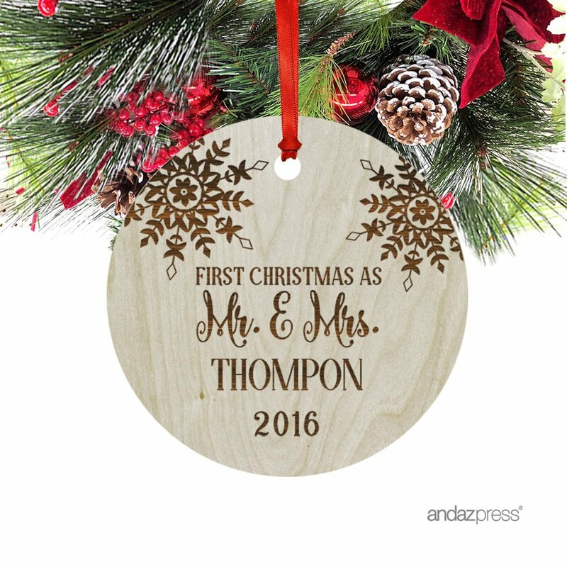 mr mrs thompon shaped ornament with gift bag
