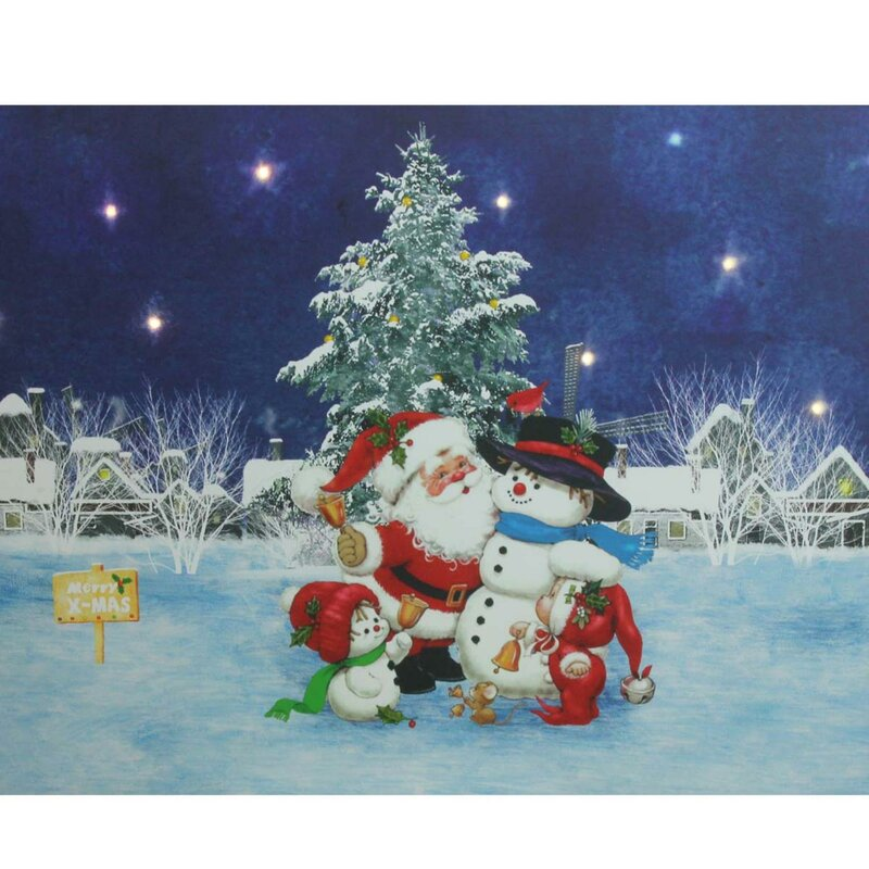Santa Claus With Snowmen Battery Operated LED Lighted Graphic Art On Canvas