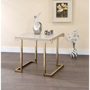Lavenia Marble Top Metal Base End Table by Everly Quinn