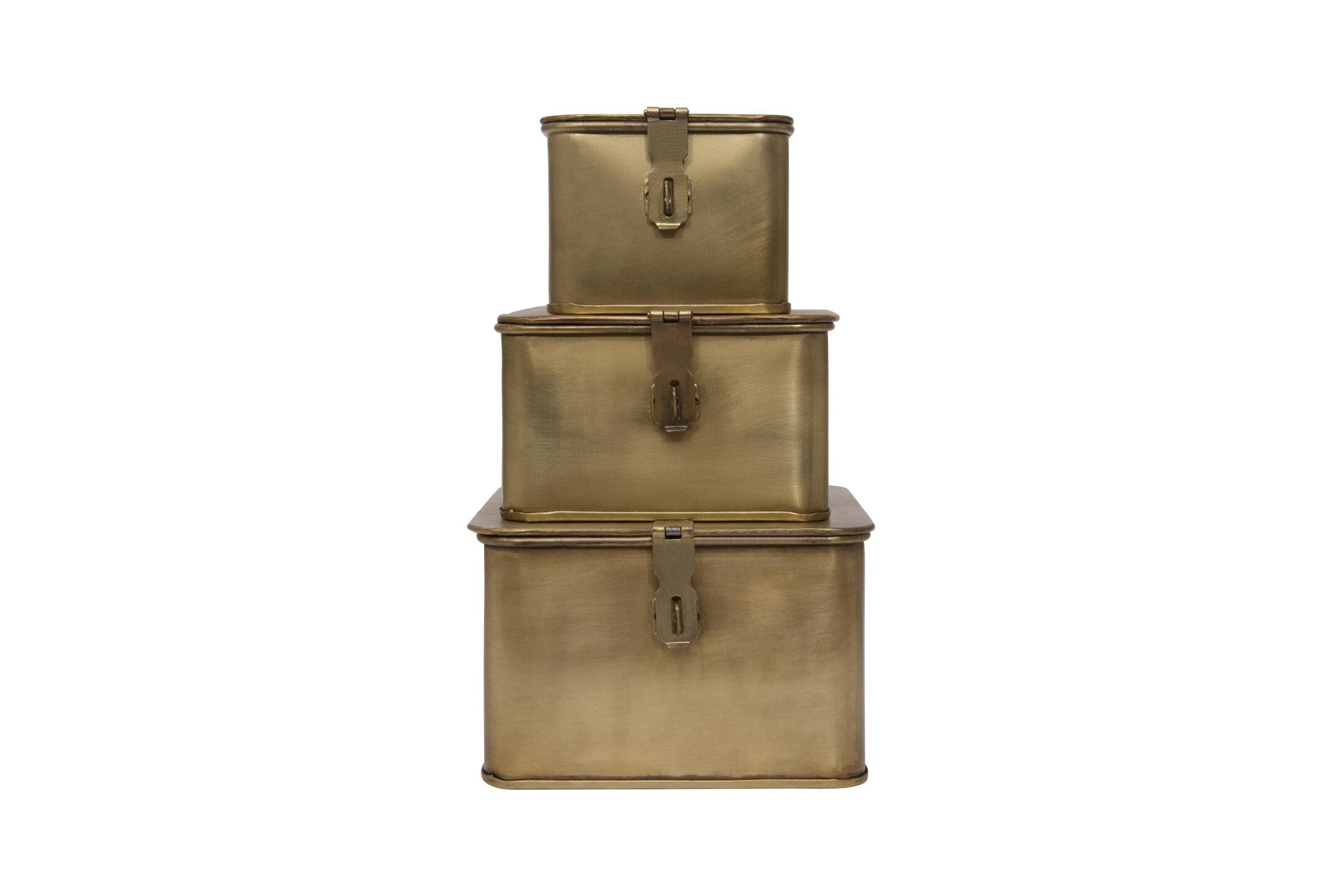 Picture of: Charlton Home Brack 3 Piece Square Metal Decorative Box Set Wayfair