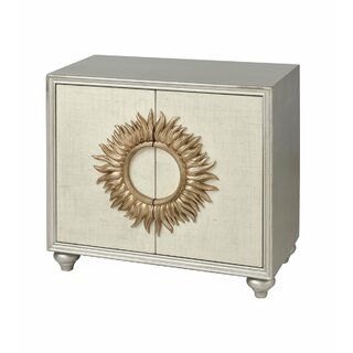 Akeem 2-door Cabinet In Antique Silver And Cream Linen With Gold Leaf Sunburst by World Menagerie SKU:ED148958 Price Compare