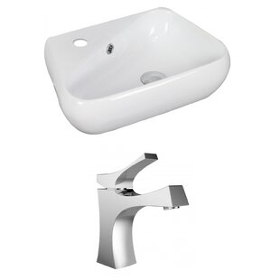 Comparison Unique Ceramic 18 Wall Mount Bathroom Sink with Faucet and Overflow By American Imaginations
