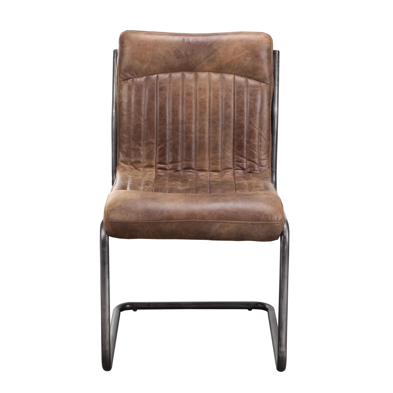 17 Stories Belmiro Modern Genuine Leather Upholstered Dining Chair Reviews Wayfair
