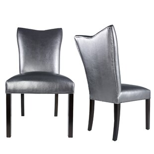 Hazlett Vinyl Upholstered Contemporary Parsons Chair Set of 2 by Everly Quinn