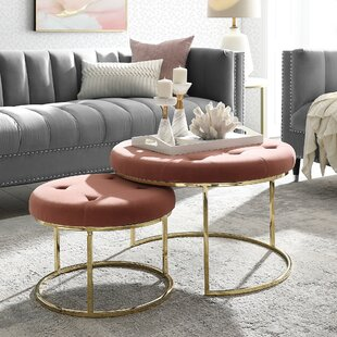 Konan 2 Piece Nesting Tufted Cocktail Ottoman by Nicole Miller