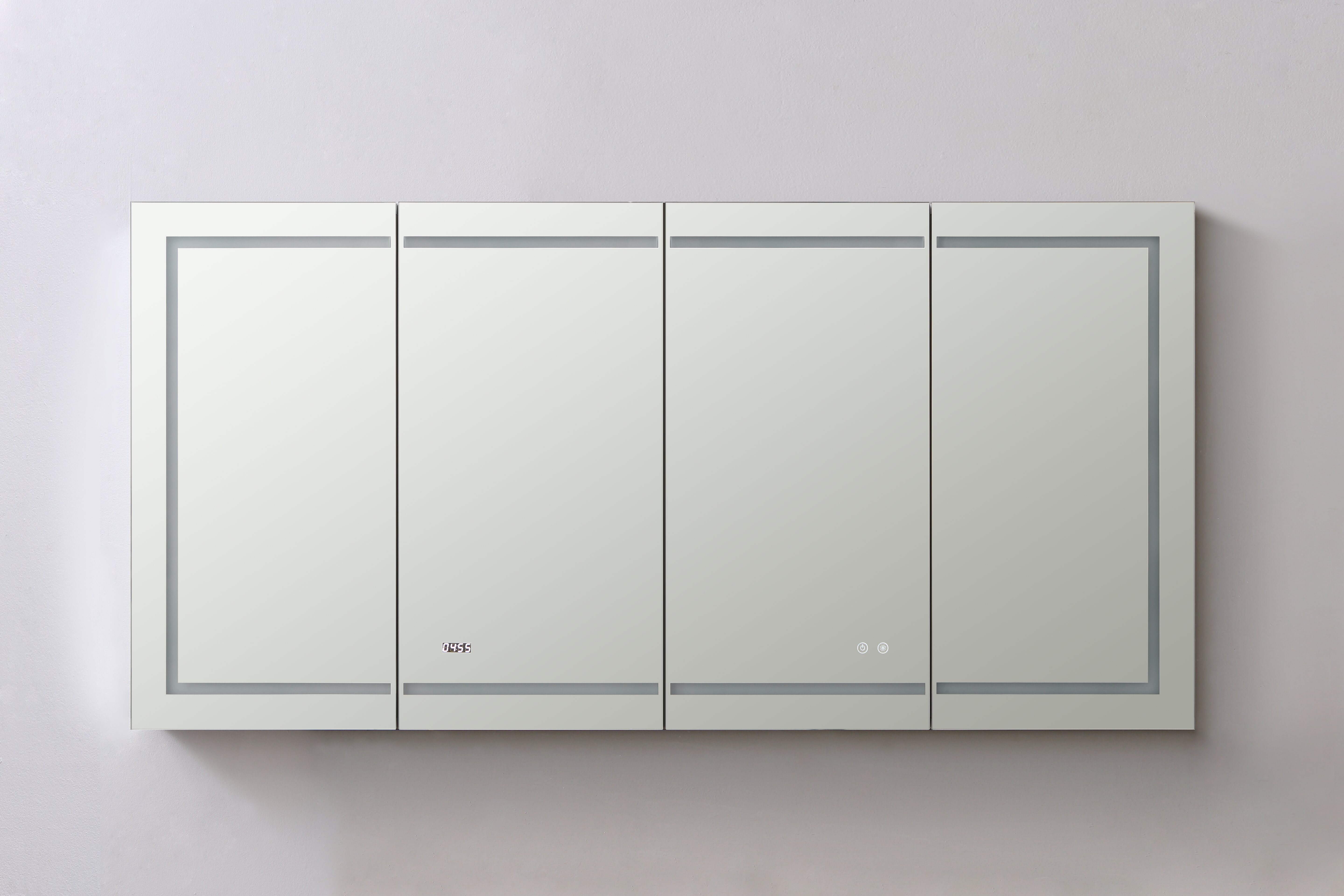 Aquadom Recessed Or Surface Mount Frameless Medicine Cabinet With 12 Adjustable Shelves And Led Lighting And Electrical Outlet Wayfair