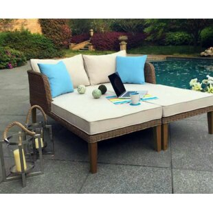 W Unlimited Lazio Outdoor Wicker Double Chaise Lounge with Cushions (Set of 2)
