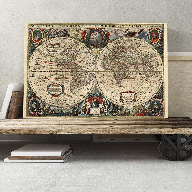 Big box art henricus hondius ii vintage world map graphic art on henricus hondius ii vintage world map graphic art on canvas gumiabroncs Choice Image