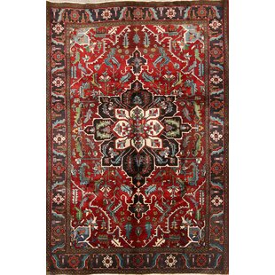 Online Reviews One-of-a-Kind Householder Heriz Serapi Vintage Persian Traditional Hand-Knotted 7'5 x 10'7 Wool Blue/Burgundy Area Rug By Isabelline