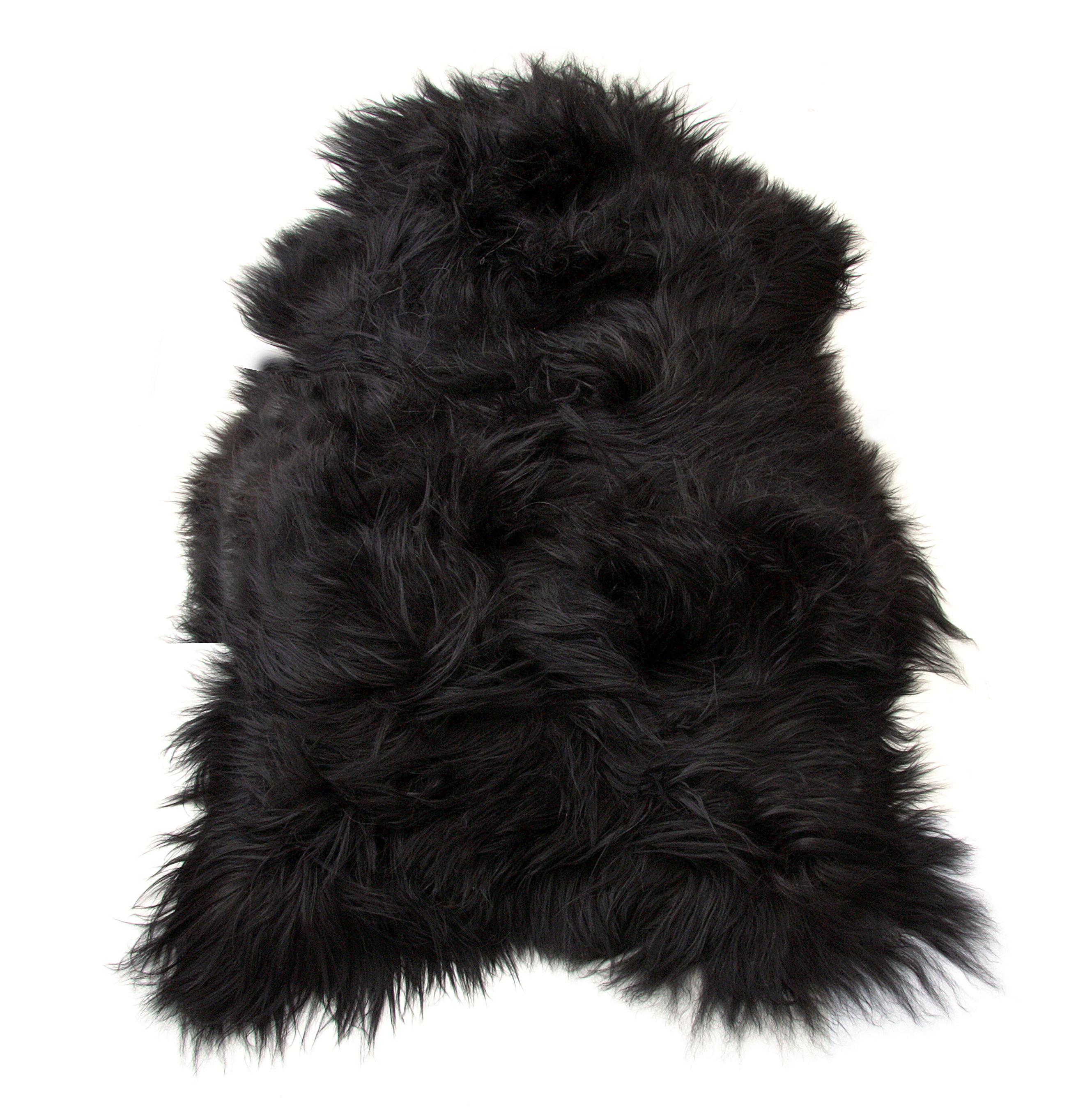 Genuine Natural Icelandic black Sheepskin Rug 2 x 3.5