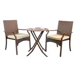 Hawes 3 Piece Bistro Set with Cushions