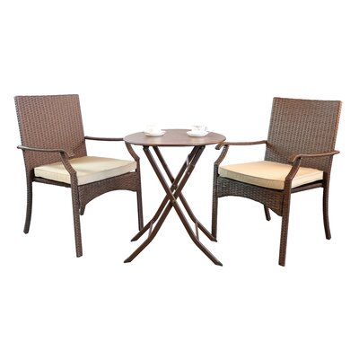 Heer 3 Piece Bistro Set With Cushion by Bay Isle Home Discount