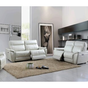 Latitude Run Meister Reclining Electric 2 Piece Leather Living Room Set