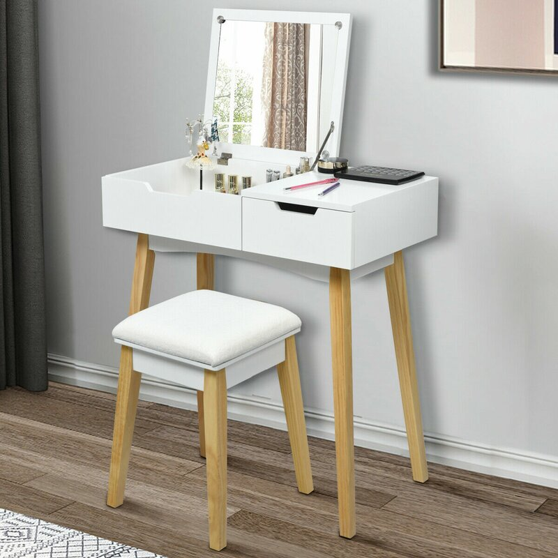 Wrought Studio Tempe Makeup Table Cushioned Vanity Set With Stool And Mirror Wayfair