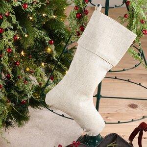 Natural Linen Blend Holiday Christmas Stocking