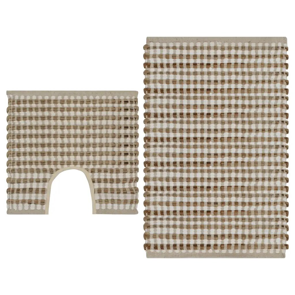 Grey Rubberwood Indoor Hallway Doormat or Bath Mat