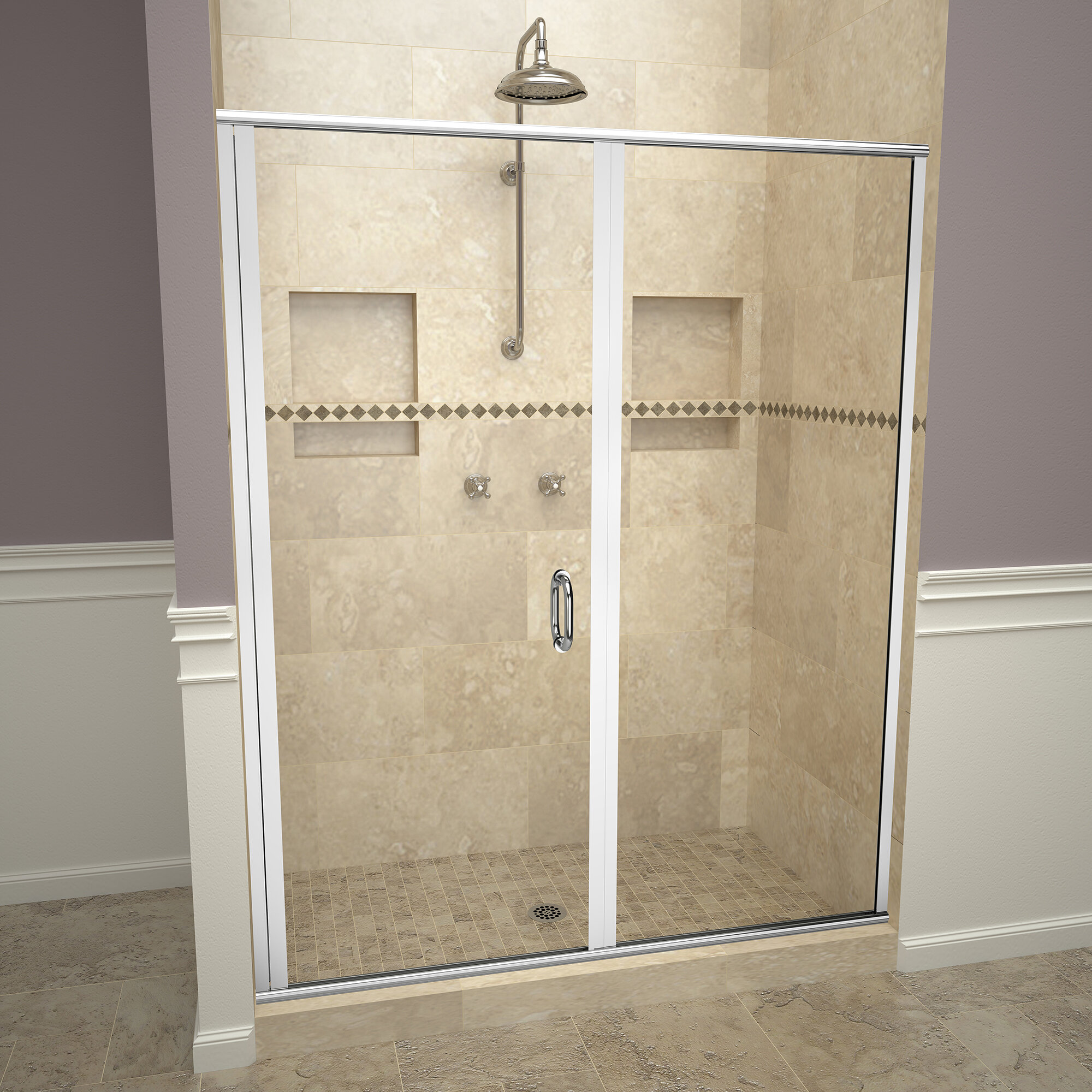 1200 Series Swing 46 X 68 63 Hinged Semi Frameless Shower Door