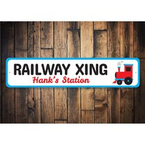 TRAIN STATION Aluminum Street Sign railroad crossing xing RR rail Indoor//Outdoo