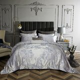 Holub Blue Reversible Floral Sateen Duvet Cover Bed-in-a-bag