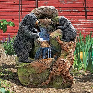 Resin Black Bears Sculptural Fountain With LED Light