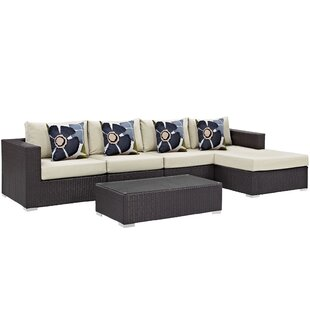 Brentwood 5 Piece Rattan Sectional Set with Cushions