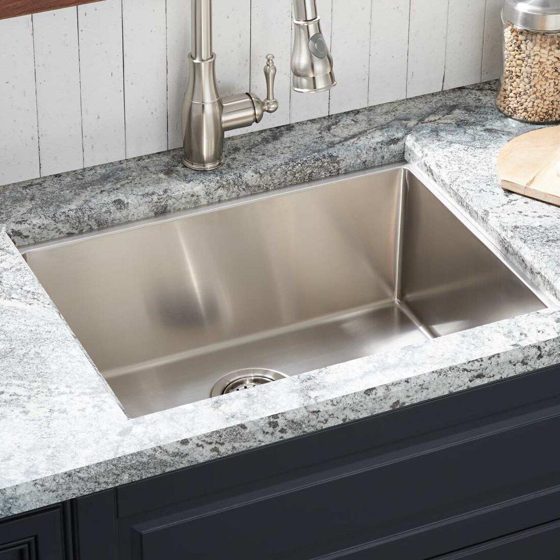 """Signature Hardware 3"""" Ortega Stainless Steel Undermount Kitchen Sink Rear  Drain"""
