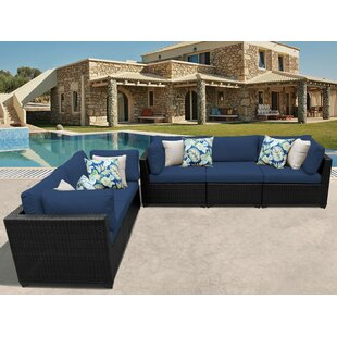 Jacques 4 Piece Rattan Sectional Seating Group With