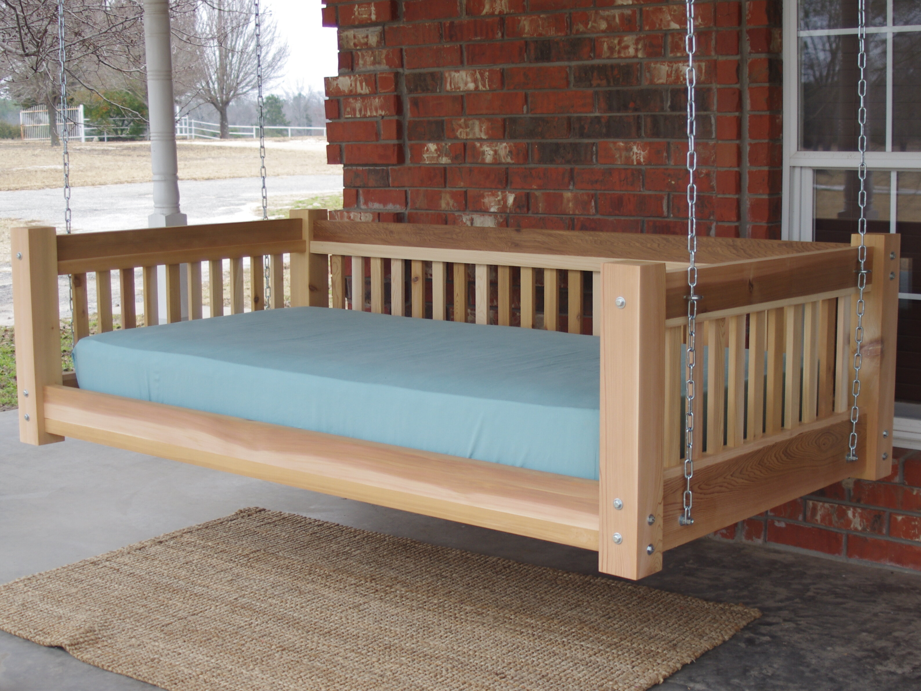Arvizu Cedar Traditional Style Hanging Daybed Swing
