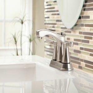 Belmont Two Handle Centerset Low Arc Bathroom Faucet ByMoen
