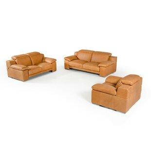 Parodi Italian Cognac Leather 3 Piece Living Room Set by Orren Ellis