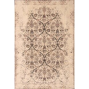 Compare prices One-of-a-Kind Baden Sultanabad Genuine Mahal Hand-Knotted 6'6 x 9'6 Wool Beige/Black Area Rug By Isabelline